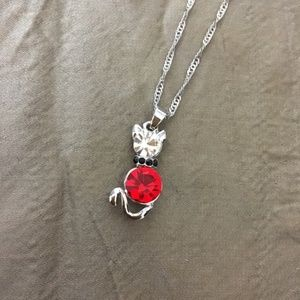 3/$25** Red Swarovski Elements Cat necklace